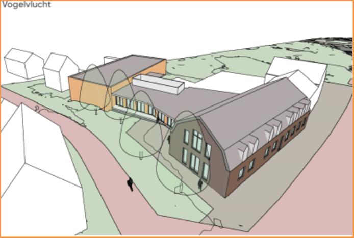Een voorlopige schetstekening van de nieuwe huiskamer van het dorp Bakel, op de hoek van de Dorpsstraat en de Viltstraat.