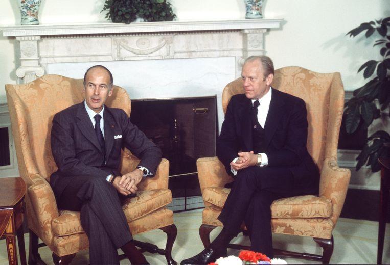 Valéry Giscard D'Estaing bracht in 1976 een staatsbezoek aan de VS. Op het Witte Huis had hij een onderhoud met toenmalig Amerikaans president Gerald Ford. Beeld Photo News