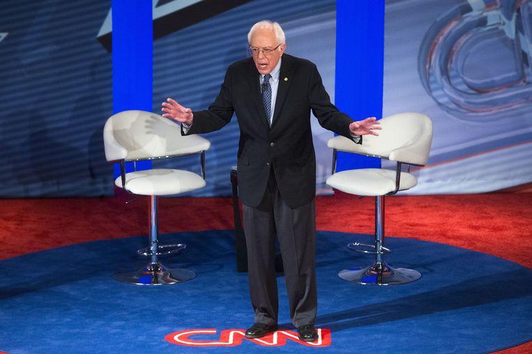 Bernie Sanders beantwoordt donderdag vragen in de townhall-discussie georganiseerd door CNN. Beeld AP