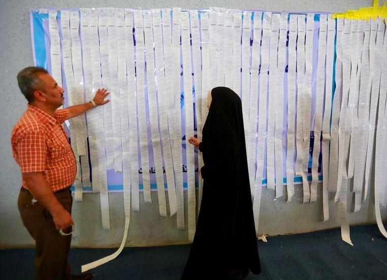 Werknemers van het Iraakse onafhankelijke verkiezingscommissie inspecteren de resultaten van de verkiezingen op 15 mei 2018 in Najaf, Irak. Beeld Reuters