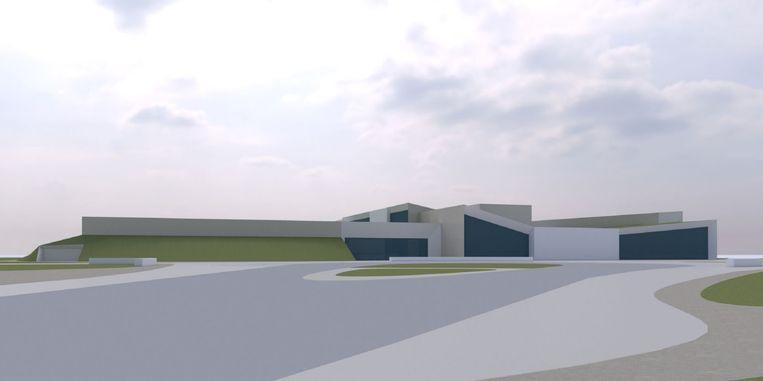 De nieuwe sporthal, herkenbaar aan het platte dak links, wordt aan het nieuwe zwembad gebouwd.