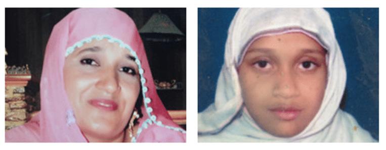 Zubaida Amjad en haar dochtertje Momina Amjad. Beeld kos