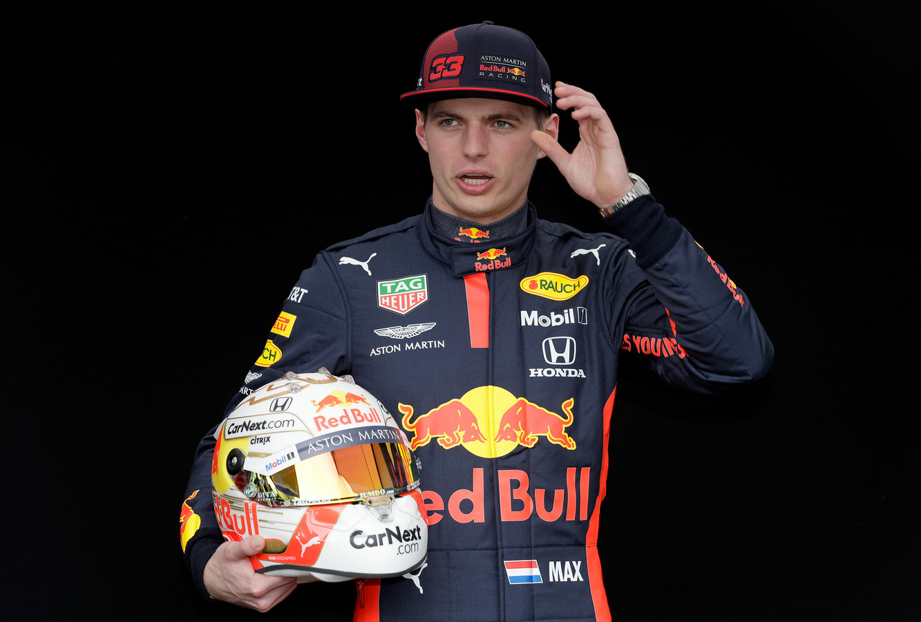 Red Bull driver Max Verstappen of the Netherlands poses for a photo at the Australian Formula One Grand Prix in Melbourne, Thursday, March 12, 2020. (AP Photo/Rick Rycroft)