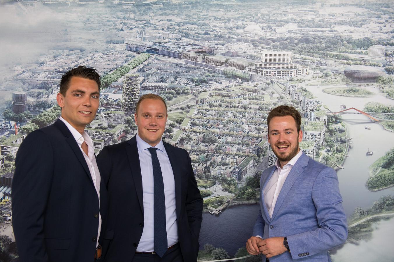 Vlnr Tim van het Hof (D66), Thierry Aartsen (VVD) en Arjen van Drunen (PvdA).