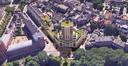 Het plan voor nieuwbouw op de hoek van de Valkenstraat en de John F. Kennedylaan in Breda. Links de Poort van Breda.