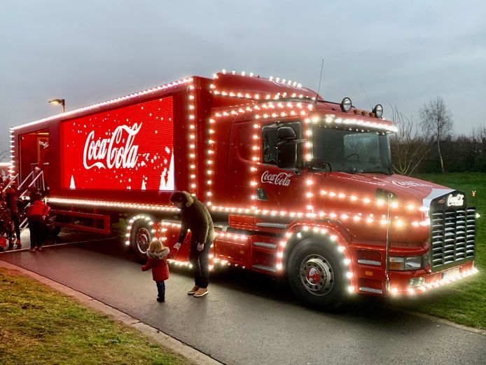 Kersttruck Coca-Cola in Jabbeke