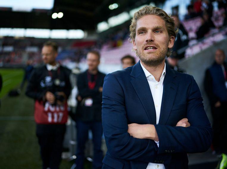 Rasmus Ankersen tijdens de wedstrijd Midtjylland-Kopenhagen in juli.  Beeld Getty Images