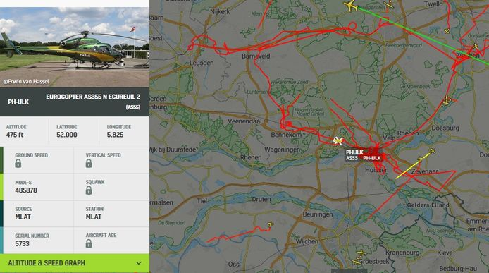 De rode lijnen rond Arnhem laten de route van de helikopter zien. ProRail gebruik te helikopter om opnamen te maken en metingen te doen na werkzaamheden aan het spoor.
