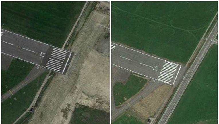 Links: de situatie in juni 2015 op Google Earth. Rechts: de startbaan in 2013. Momeneel wordt de R11, de weg langs de luchthaven tussen Mortsel en Borsbeek, ondertunneld. Beeld Google Earth