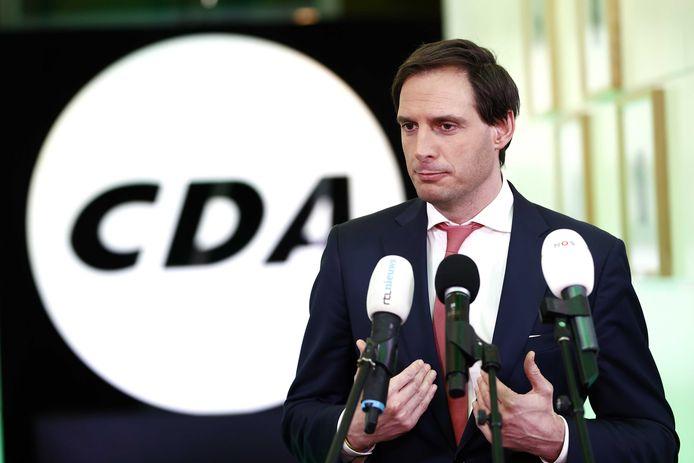 CDA-lijsttrekker Wopke Hoekstra reageert in het partijbureau op de uitslagen voor de Tweede Kamerverkiezingen.