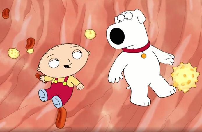 Stewie en Brian Griffin in het lichaam van Peter.