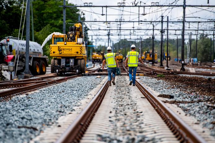Eerdere werkzaamheden aan het spoor bij Gouda.