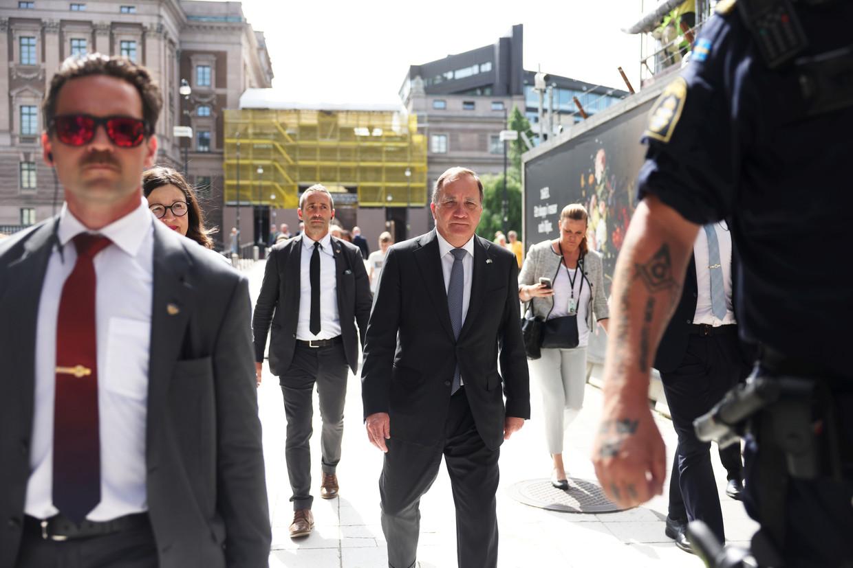 De Zweedse premier Stefan Löfven nadat zijn regering is gevallen.  Beeld EPA