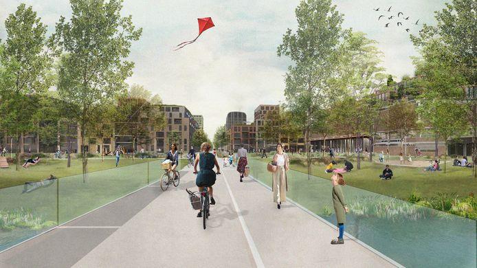 Impressie van de Merwedekanaalzone, het grootste nieuwbouwgebied van Utrecht. In de wijk is straks nauwelijks plek voor auto's.