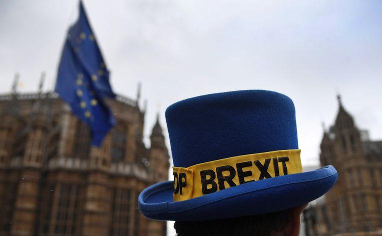 Anti-Brexit-demonstranten protesteren in Londen. Over 27 dagen moeten het Verenigd Koninkrijk en Gibraltar de Europese Unie verlaten. Beeld EPA