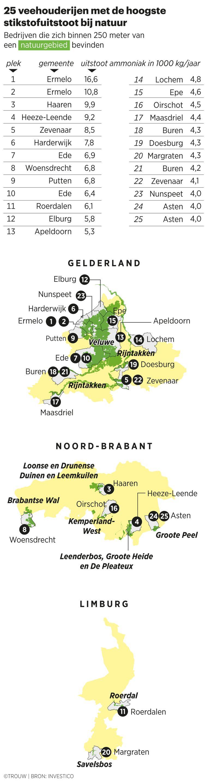 Kaart van de meest vervuilende bedrijven. Beeld Sander Soewargana