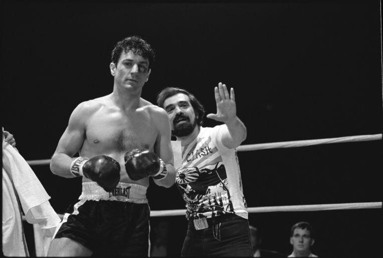 Robert De Niro en Martin Scorsese op de set van 'Raging Bull'. Beeld rv