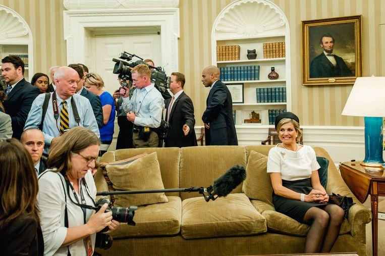 WASHINGTON - Koning Willem-Alexander en koningin Maxima worden ontvangen door president Barack Obama in het Witte Huis. Het koningspaar brengt een driedaags officieel bezoek aan de Verenigde Staten. ANP ROYAL IMAGES ROBIN VAN LONKHUIJSEN Beeld Hollandse Hoogte /  ANP
