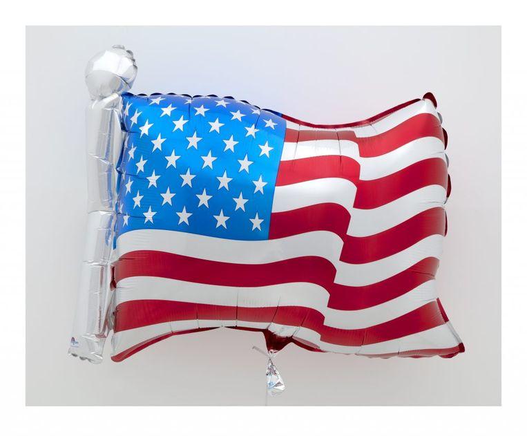 'Flag'(2020) van Jeff Koons is een van de werken op de grote onlinekunstveiling Artists for Biden. De opbrengst is voor de financiële ondersteuning van de verkiezingscampagne van Joe Biden.  Beeld Jeff Koons via David Zwirner