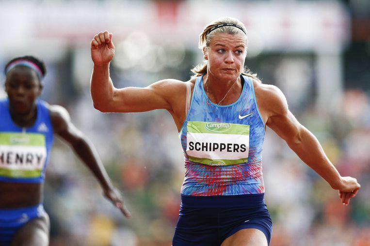 Dafne Schippers wint de 100 meter tijdens de FBK Games van 2017. Beeld ANP