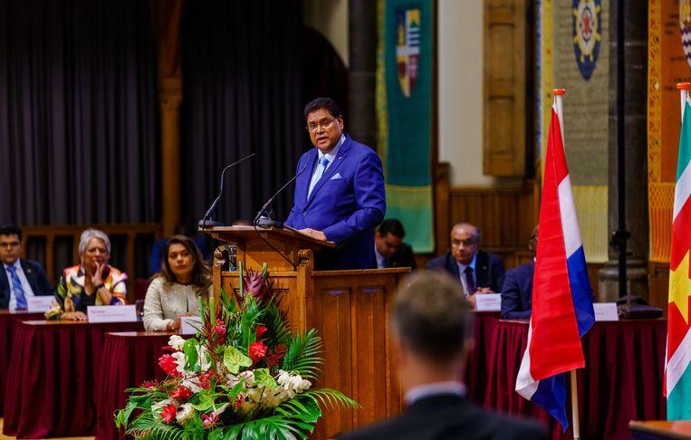 Chandrikapersad Santokhi, president van Suriname, spreekt de Staten-Generaal toe in de Ridderzaal aan het Binnenhof.  Beeld ANP