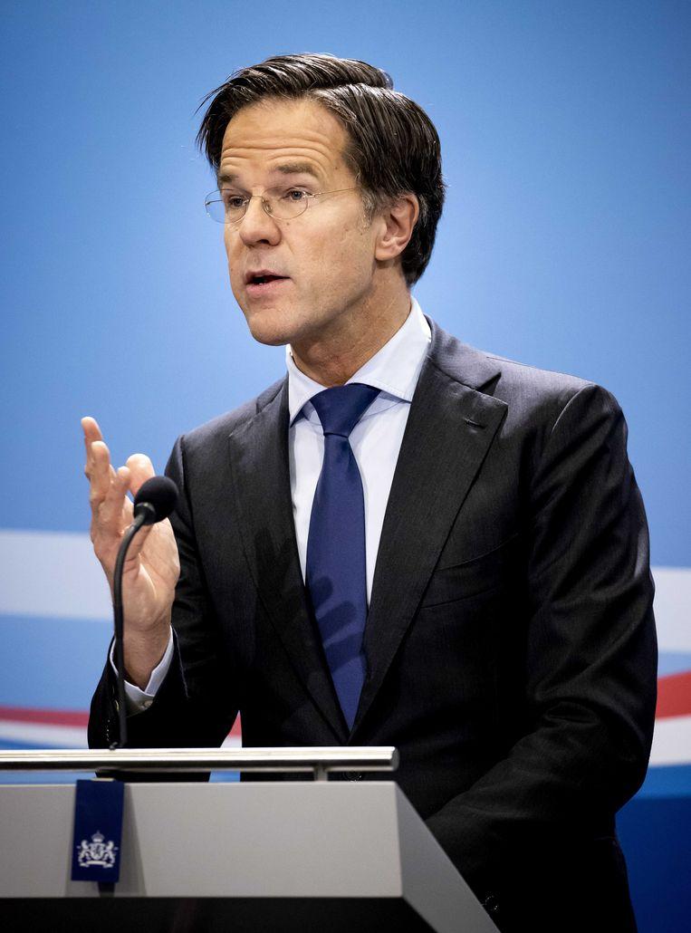 Premier Mark Rutte tijdens de persconferentie na afloop van de ministerraad.  Beeld ANP