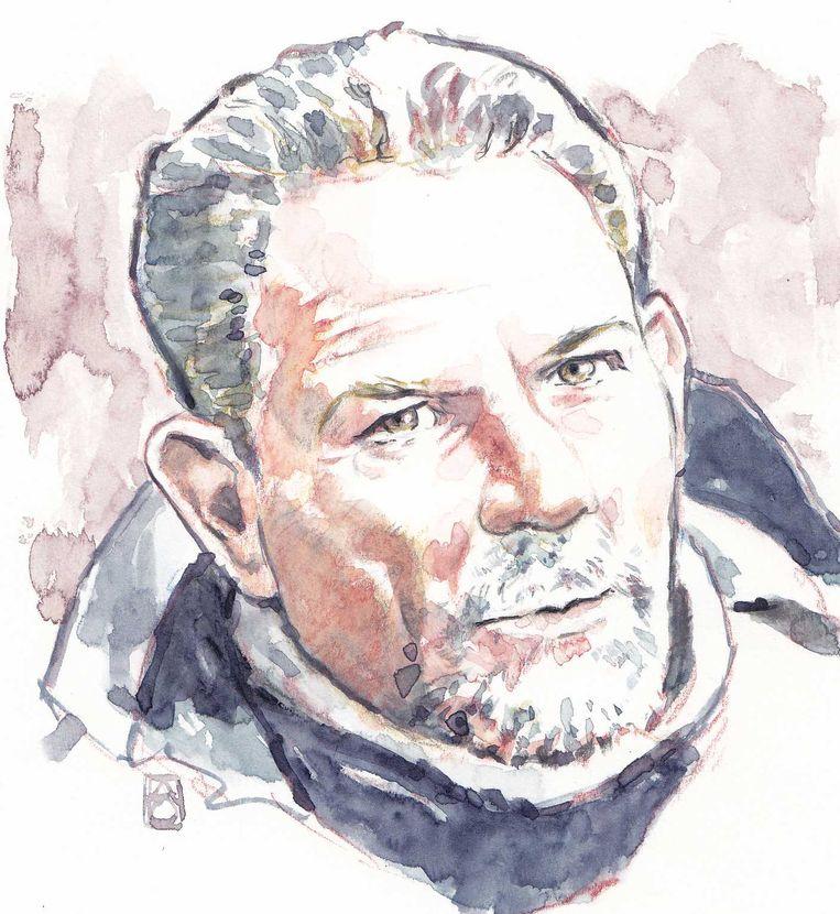 Aquarel van moordverdachte Jos B. De 55-jarige man wordt verdacht van het verkrachten en vermoorden van Nicky Verstappen in 1998. Beeld ANP