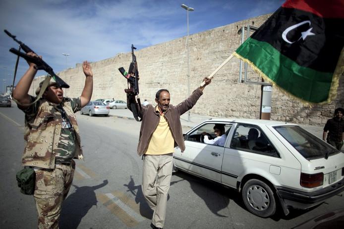 Scène de liesse à Tripoli.