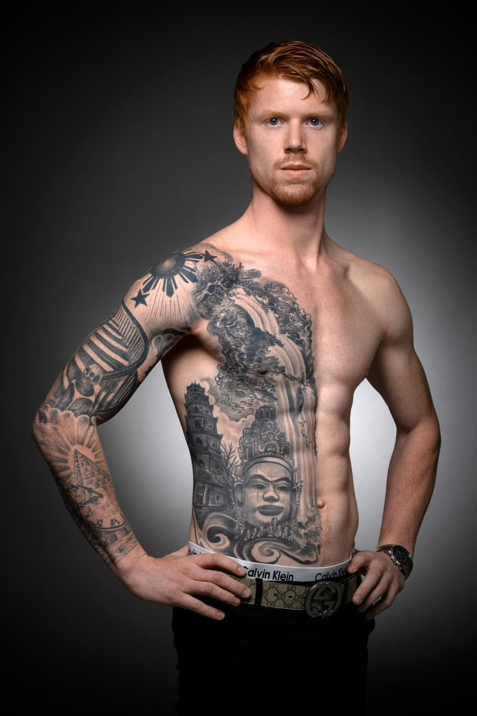 """Damian de Harde. ,,Met mijn vader heb ik een gedeelde tekst laten tatoeëren."""""""