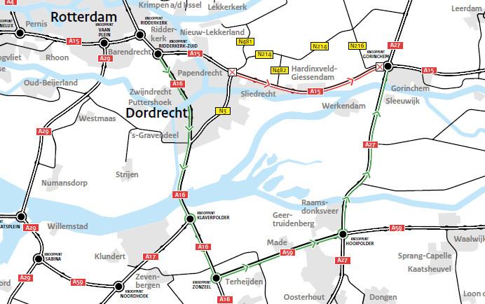 Verkeer richting Gorinchem wordt omgeleid over de A16, A59 en A27.