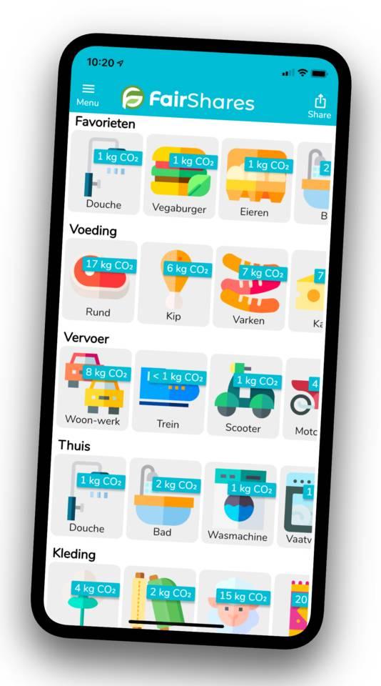 Het beginscherm van de FairShares app.