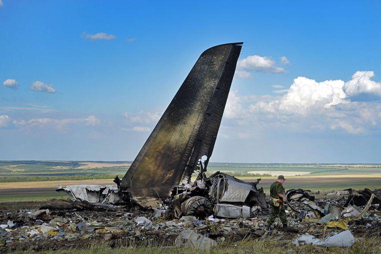 Het vliegtuig dat afgelopen vrijdag werd neergehaald door separatisten. Beeld AFP