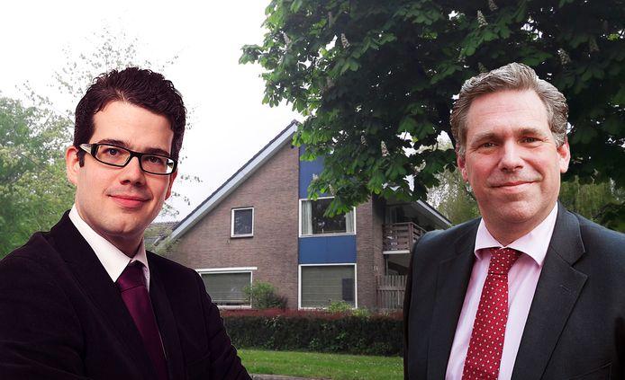 Links VVD-leider Dimitri Gilissen, rechts Cees Bos van Stadsbelang Utrecht, met op de achtergrond de villa aan de Meentweg in De Meern, waar minderjarige asielzoekers moeten komen te wonen als het aan de gemeente Utrecht en het COA ligt.