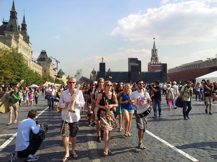 Optreden op het Rode Plein in Moskou.