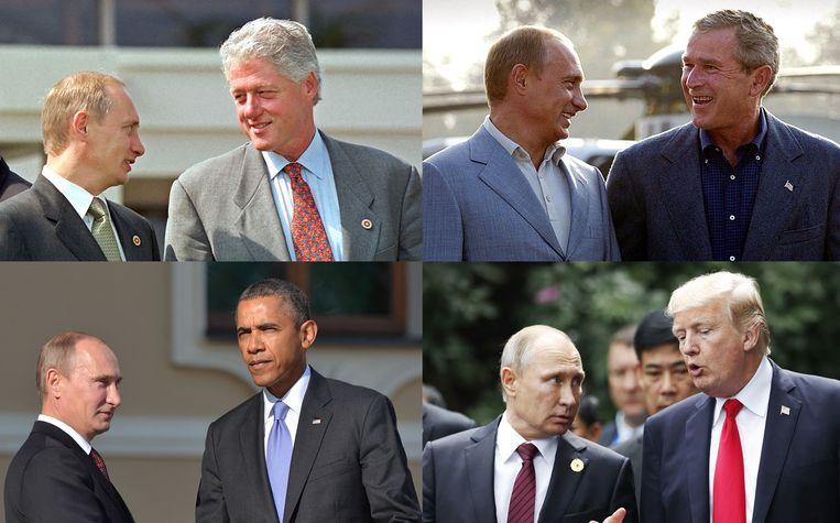 Poetin en de presidenten Clinton (2000), George W. Bush (2003), Obama (2013) en Trump (2017). Beeld AFP