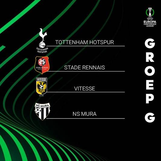 Groep G van de Conference League, met Vitesse, Tottenham Hotspur, Stade Rennais en NS Mura.