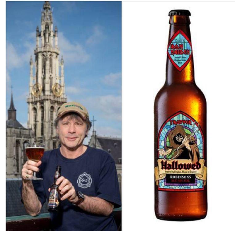 Frontman Bruce Dickinson voor de kathedraal van Antwerpen met zijn nieuwe bier. Beeld Iron Maiden Beer Facebook