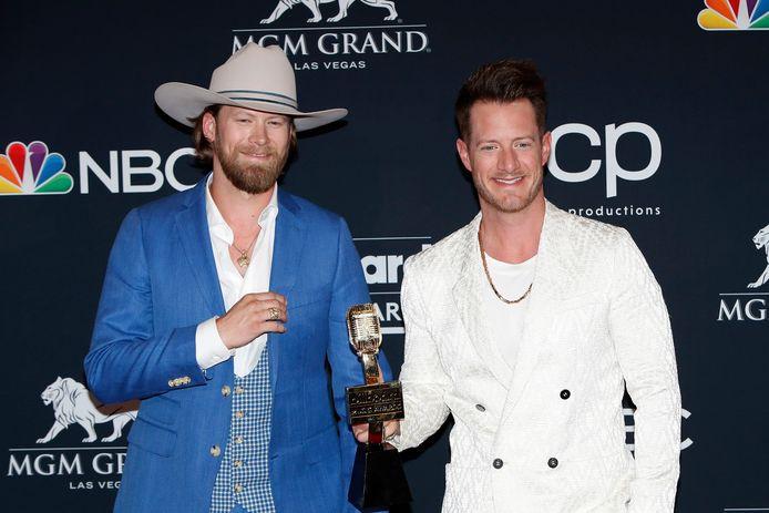 Brian Kelley (l) en Tyler Hubbard (r) van de band Florida Georgia Line
