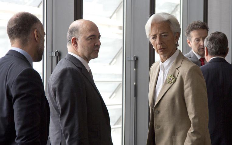 IMF-topvrouw Christine Lagarde bij de vergadering van de geldschieters vanmiddag. Beeld AP