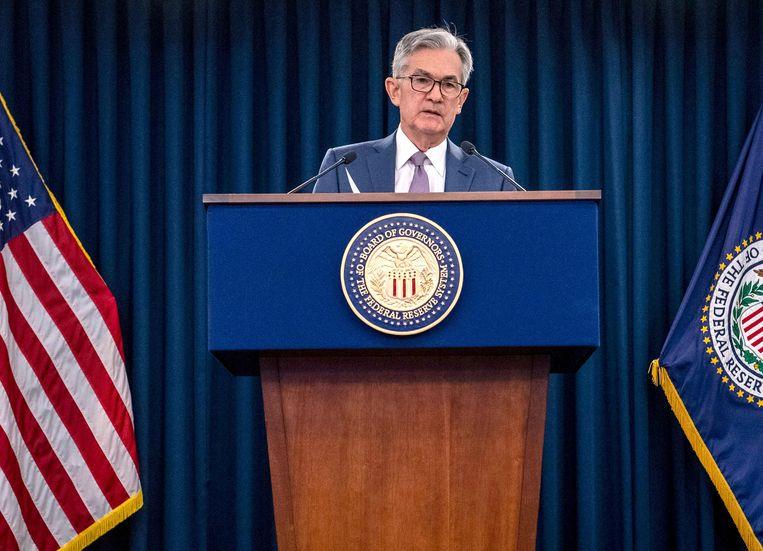 Jerome Powell, de president van de Amerikaanse koepel van centrale banken Federal Reserve tijdens een persconferentie. Beeld AFP