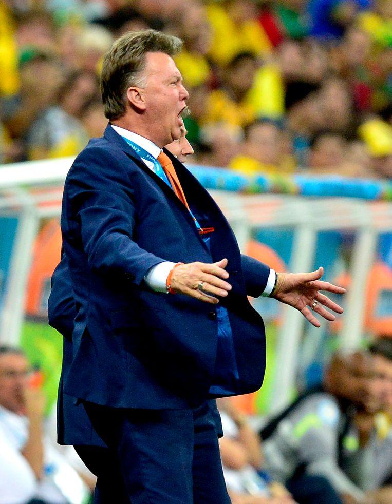 Louis van Gaal als bondscoach tijdens het WK in 2014 in Brazilië.  Beeld Hollandse Hoogte /  ANP