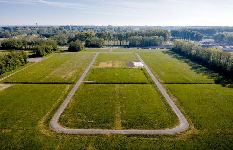 Het terrein in Biddinghuizen waar Lowlands altijd wordt gehouden. Dit weekend zouden er twee proeffestivals plaatsvinden. Beeld ANP