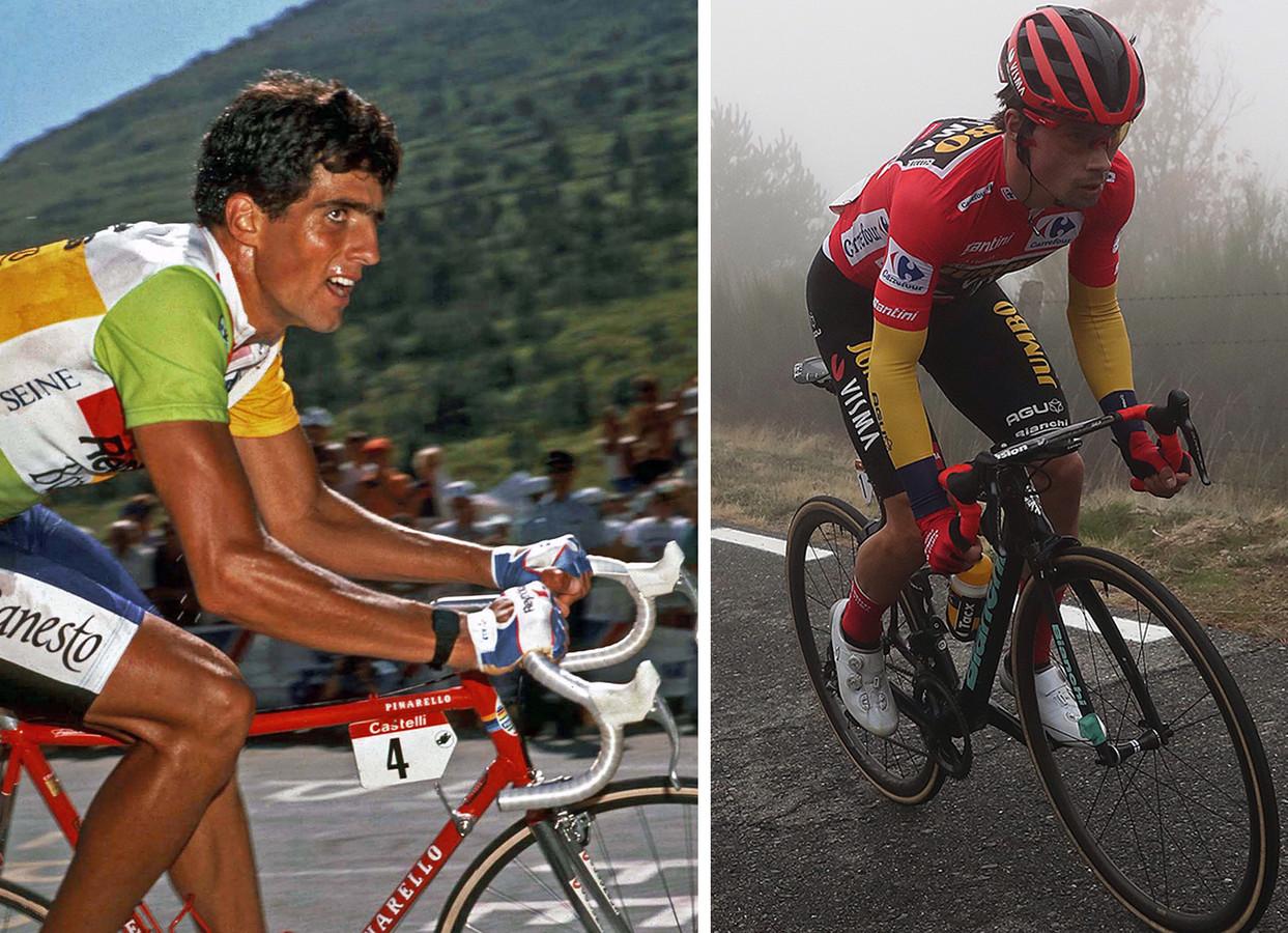 Links: Miguel Indurain op weg naar L'Alpe d'Huez. Rechts Primoz Roglic in de Vuelta van vorig jaar.