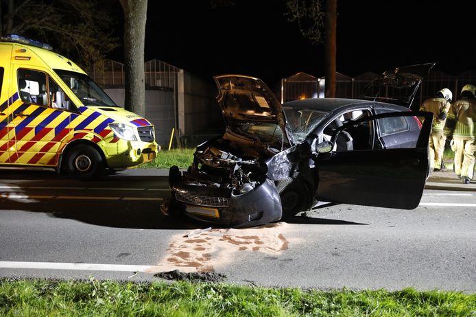 Automobilist botst met auto tegen boom in Steenbergen.