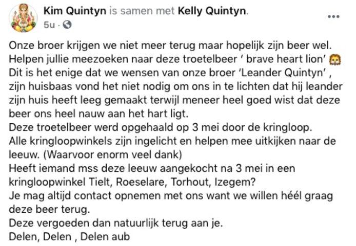 Zussen Kim en Kelly Quintyn plaatsten een oproep op sociale media, in de hoop de knuffelleeuw van hun vermoorde broer Leander terug te vinden.
