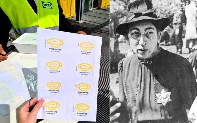 De stickers van IKEA Delft. Rechts een Joodse vrouw met een Davidsster in de Tweede Wereldoorlog.