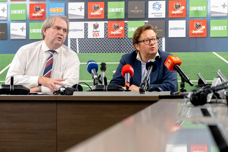 Pro League CEO Pierre Francois and Pro League chairman Marc Coucke talk during a press conference after a meeting of the board of directors of the Pro League, in Brussels, Wednesday 17 October 2018. Several suspects in a large investigation into tax evasion, money laundering and possible match fixing organised by several player agents in the Belgian soccer competition have been arrested the past days. The Pro League wants to reacts to the problem of player agents. BELGA PHOTO HATIM KAGHAT