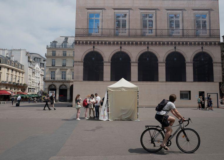 Een mobiele testlocatie in Parijs. Beeld AP