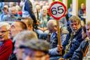 Belangstellenden tijdens een actiebijeenkomst van de FNV over pensioenen.
