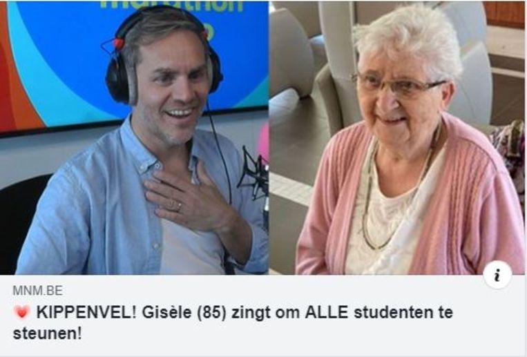 Gisèle Gheskiere (85) uit Kuurne mocht in het radioprogramma van Peter Van de Veire live een liedje zingen, en ze bleek dat dan nog fantastisch goed te doen.